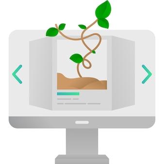 Онлайн-изучение биологии и ботаники на значке компьютера