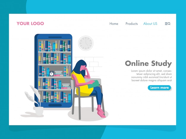 Online study illustration for landing page
