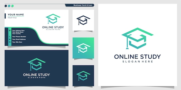 Online study logo with modern outline style and business card