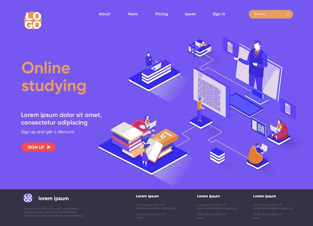 Online studying 3d isometric landing page website   illustration with people characters