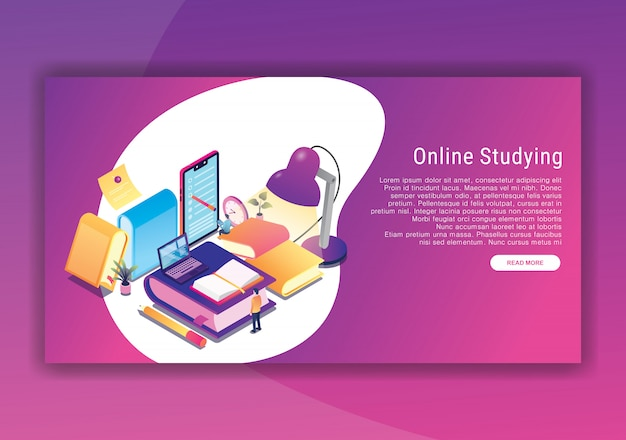 Online studying isometric design  template