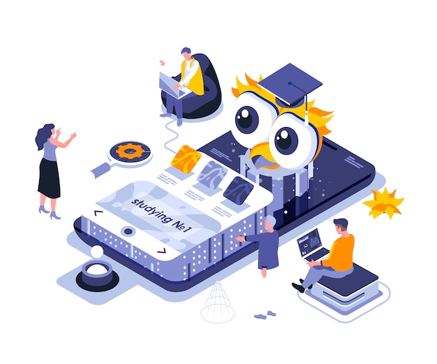 Online studying isometric    illustration template