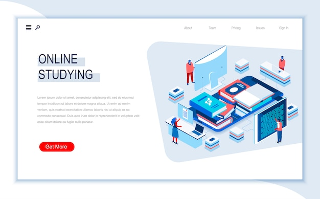 Online studying isometric landing page template.