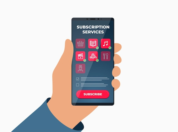 Online subscription services on smartphone screen subscribe to access entertainment media education