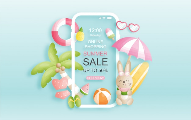 Online summer sale background design with cute bunny and coconut trees, watermelon.
