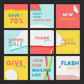 Set di modelli di promozione dei saldi estivi online