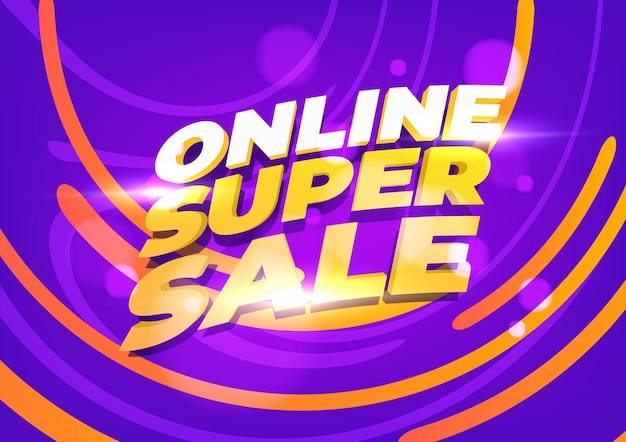 オンラインスーパーセールバナーテンプレート。オンラインショッピング、製品、プロモーション、ウェブサイト、パンフレットのレイアウト。ベクトルイラスト。