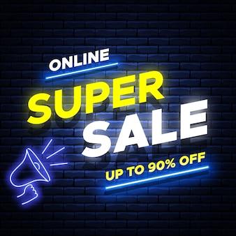 Online super sale neon glowing banner on brick wall.