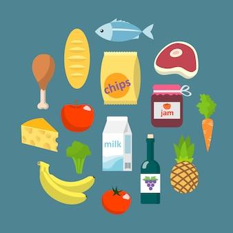 온라인 슈퍼마켓 식품 평면 개념