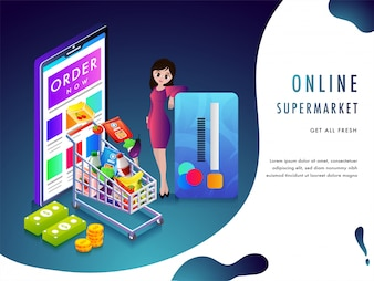 Online supermarket or grocery purchasing concept.