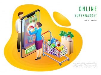 オンラインスーパーマーケットまたは食料品購入コンセプト。