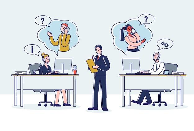 オンラインサポートとコールセンターのコンセプト