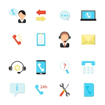 Online support and call center icons. vector symbols in flat style
