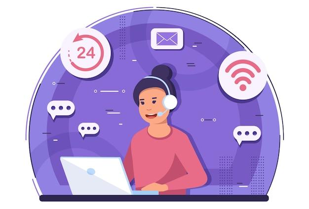 온라인 지원, 고객 서비스 및 콜센터 개념.