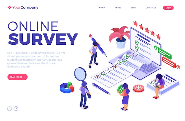 Online survey banner with isometric characters