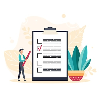 Online survey business concept with tiny people. internet questionnaire form. man fills out the giant clipboard checklist and check mark ticks. flat vector illustration.