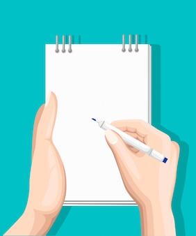 Онлайн опрос, контрольный список. рука держит планшет и палец сенсорный вертикальный экран. обратная связь бизнес-концепция. иллюстрация шаржа плоская изолированная на сини. минималистичный дизайн для сайта, мобильного приложения