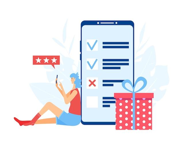 オンライン調査の概念。スマートフォンの画面で調査中の女の子。