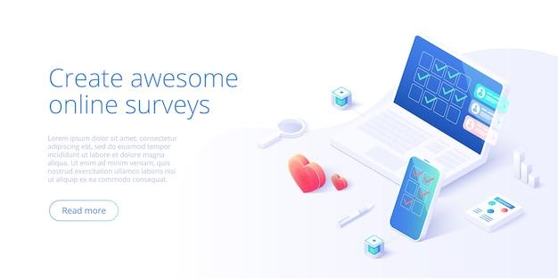 Online survey concept in isometric design