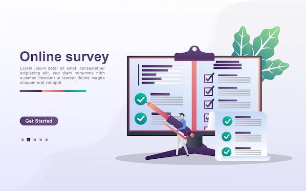 Концепция онлайн-опрос. люди отвечают на вопросы онлайн-опросов, исследования опросов, онлайн-экзамены, анкеты, интернет-викторины. можно использовать для целевой веб-страницы, баннеров, мобильных приложений. плоский дизайн