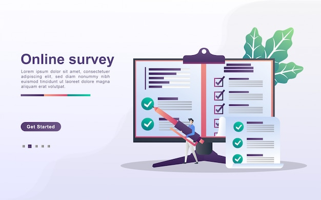 Online survey concept. people answer online survey questions, survey research, online exam, questionnaire form, internet quiz.. can use for web landing page, banner, mobile app. flat design