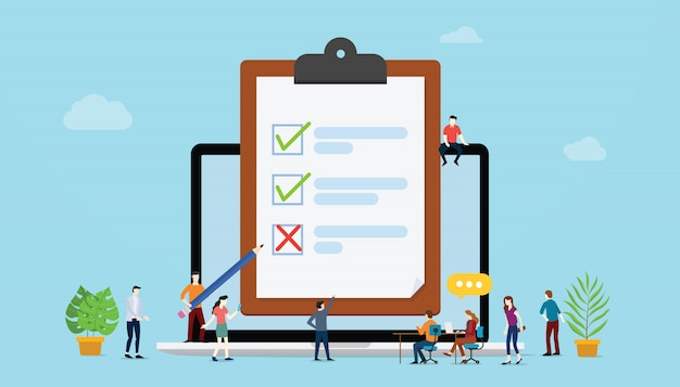 Online survey concept with people and checklist surveys