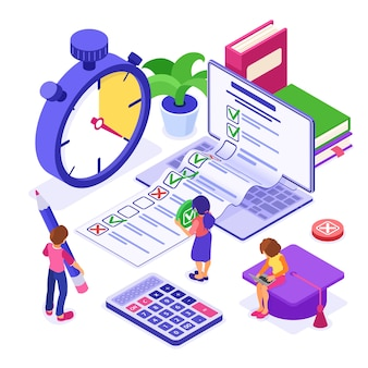 Online survey or distance exam test form banner with isometric characters