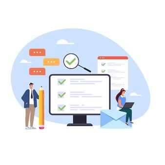 녹색 확인 표시 개념을 선택하는 온라인 설문 조사 시험 교육