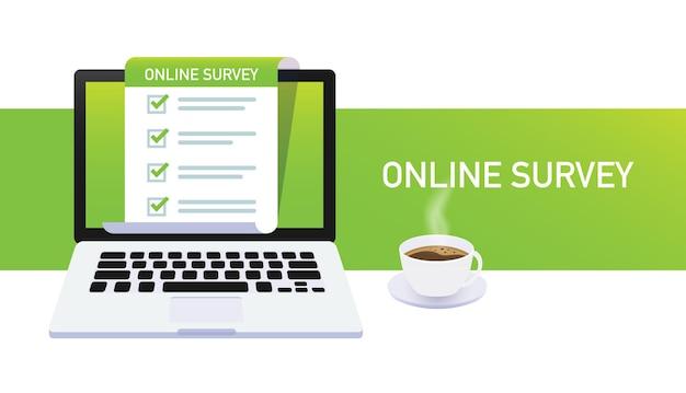 オンライン調査、フィードバックビジネスコンセプト。