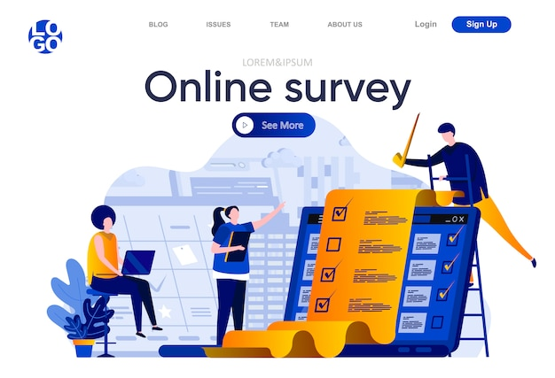Online survey flat landing page. respondent completing checklist web page composition with people characters. online survey service to capture voices and opinions of people illustration.