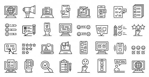 Online survey icons set, outline style