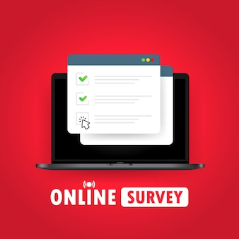 Online survey illustration. check list online form on laptop. report on website or web internet survey, exam checklist. browser window with check marks. vector on isolated white background. eps 10.
