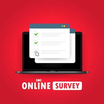 オンライン調査のイラスト。ノートパソコンのチェックリストオンラインフォーム。ウェブサイトまたはウェブインターネット調査、試験チェックリストに関するレポート。チェックマークの付いたブラウザウィンドウ。孤立した白い背景の上のベクトル。 eps10。