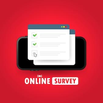 オンライン調査のイラスト。スマートフォンのチェックリストオンラインフォーム。ウェブサイトまたはウェブインターネット調査に関するレポート。チェックマークの付いたブラウザウィンドウ。孤立した白い背景の上のベクトル。 eps10。