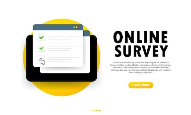 オンライン調査のイラスト。タブレットのチェックリストオンラインフォーム。ウェブサイトまたはウェブインターネット調査に関するレポート。チェックマークの付いたブラウザウィンドウ。孤立した白い背景の上のベクトル。 eps10。