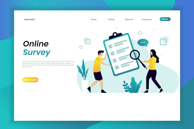 Online survey illustration web page template with character