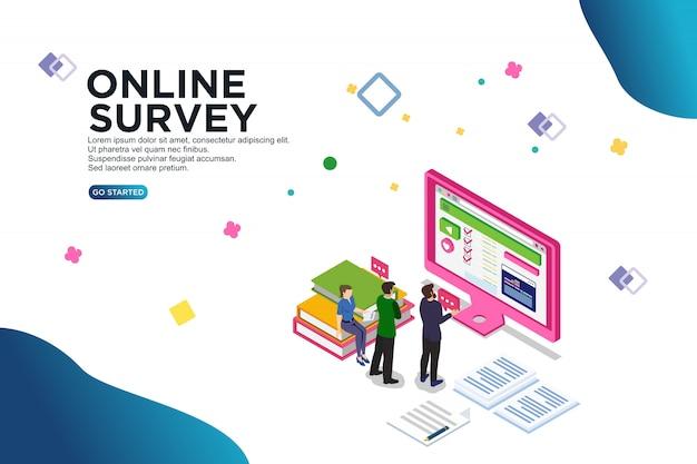 Online survey isometric vector illustration concept
