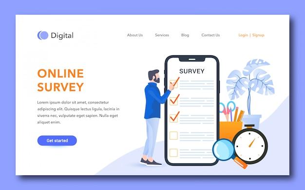 Online survey landing page design