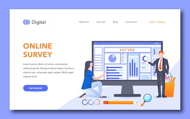 Online survey landing page design