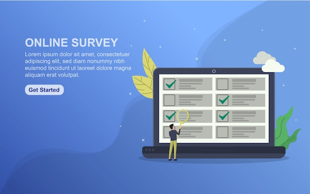 Online survey landing page template. flat design concept of web page design for website.
