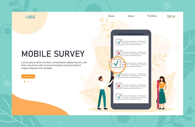 Online survey landing page template with header. tiny person with magnifying glass nearby giant checklist. can use for web banner, infographics, hero images. flat vector illustration.