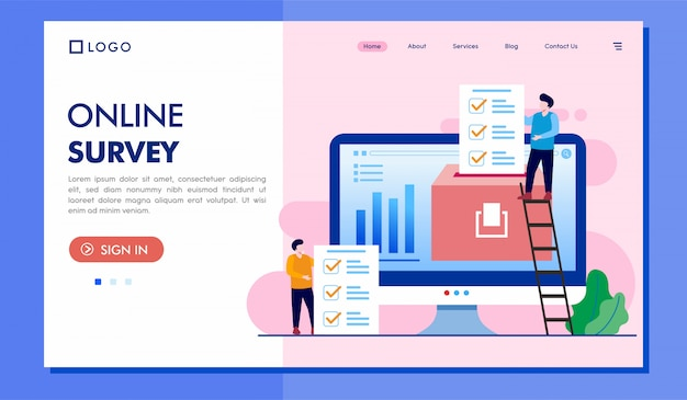 Online survey landing page website illustration