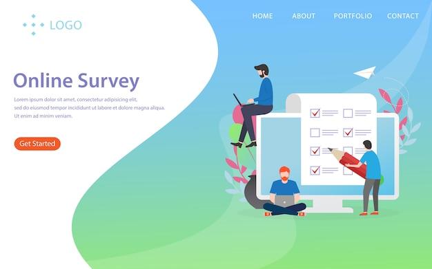 Online survey, landing page