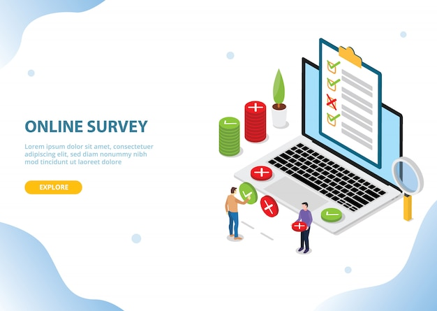 Online survey technology concept for website landing homepage