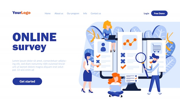 Online survey vector landing page template with header
