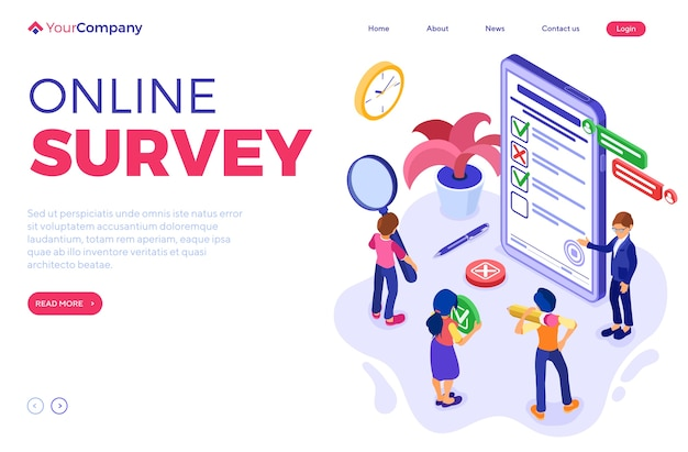 Online survey with isometric characters. feedback online chat. questionnaire form from phone. survey research. landing page template. isometric
