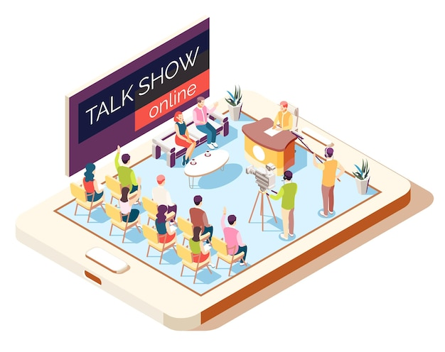 Online talk show isometric composition with operators and guests illustration