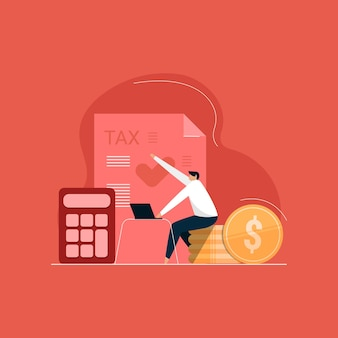 Online tax calculation and payment statement, taxpayer counting tax and profit, accounting and financial analysis illustration
