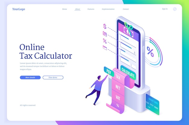 Online tax calculator isometric landing page