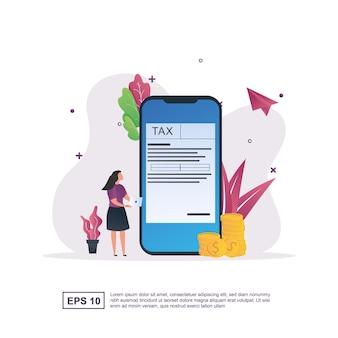 스마트폰 화면에서 사용할 수 있는 양식이 있는 온라인 세금 개념.